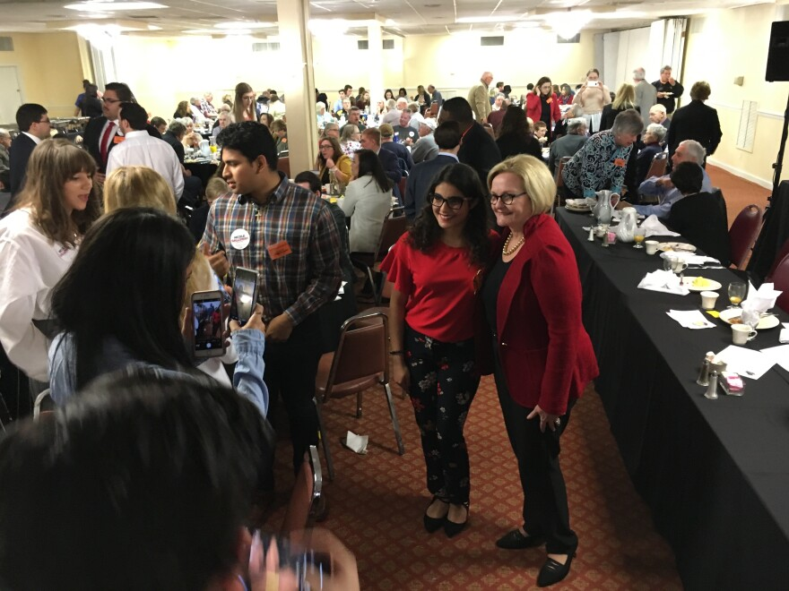 U.S. Sen. Claire McCaskill poses for a photo on Saturday, March 3, 2018, at Democrat Days in Hannibal. McCaskill said she was excited to see so many young people at the event.