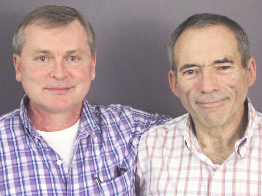 Jeff Dupre (right) and his husband, David Phillips, during a recent visit to StoryCorps, where Dupre talked about his friend and gay activist Leonard Matlovich.