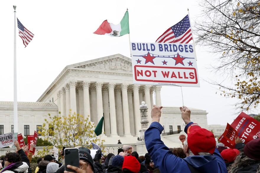 DACA recepients protest at U.S. Supreme Court