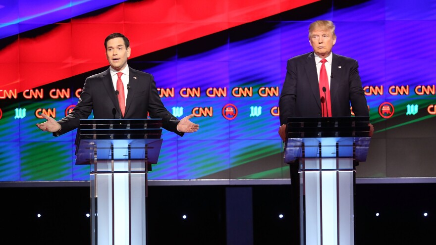 Republican presidential candidates, Sen. Marco Rubio, R-Fla., left, and Donald Trump, debate on the campus of the University of Miami on Thursday in Coral Gables, Florida.