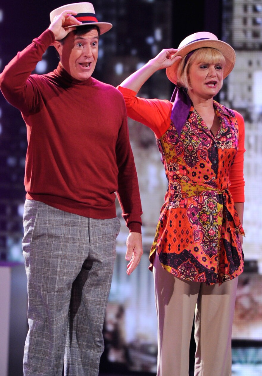 Stephen Colbert and Martha Plimpton perform a song from <em>Company </em>on stage during the 65th annual Tony Awards.