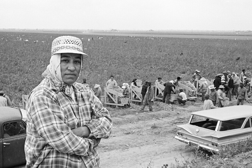 Maria Moreno taking a break from working the fields.