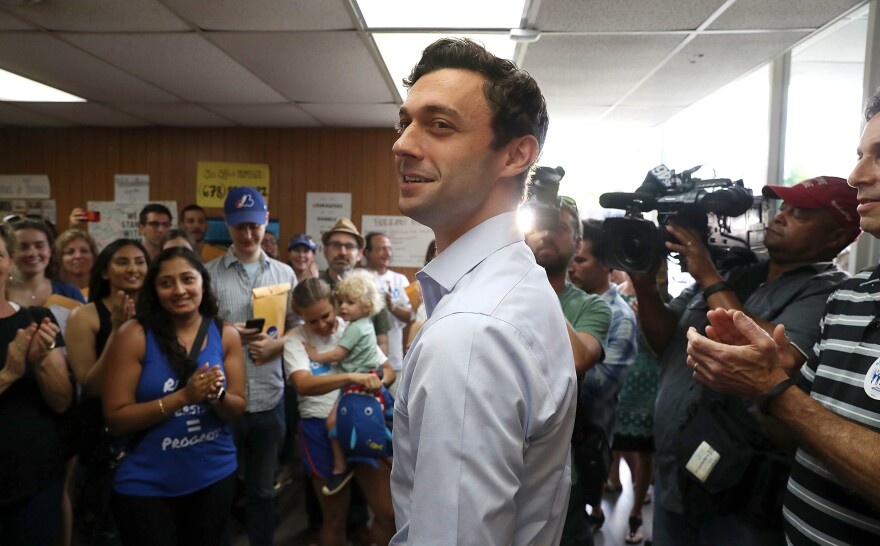 Democratic candidate Jon Ossoff visits a campaign office in Chamblee, Ga., to thank volunteers and supporters on Monday, as the special election for Georgia's 6th Congressional District winds down.
