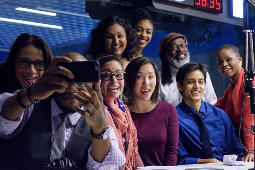Standing (from left): Reporter Karen Grigsby Bates, editor Tasneem Raja, news assistant Leah Donnella, producer Walter Ray Watson, editor Alicia Montgomery. Seated (from left): Reporters and hosts Gene Demby and Shereen Marisol Meraji, reporters Kat Chow and Adrian Florido