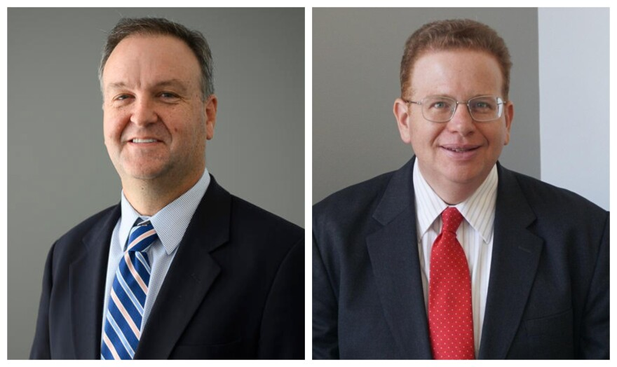 St. Louis County Executive Sam Page, left, and St. Louis Assessor Jake Zimmerman, right, are planning to run in 2020 Democratic county executive primary. Zimmerman made his bid official on Oct. 29, 2019.