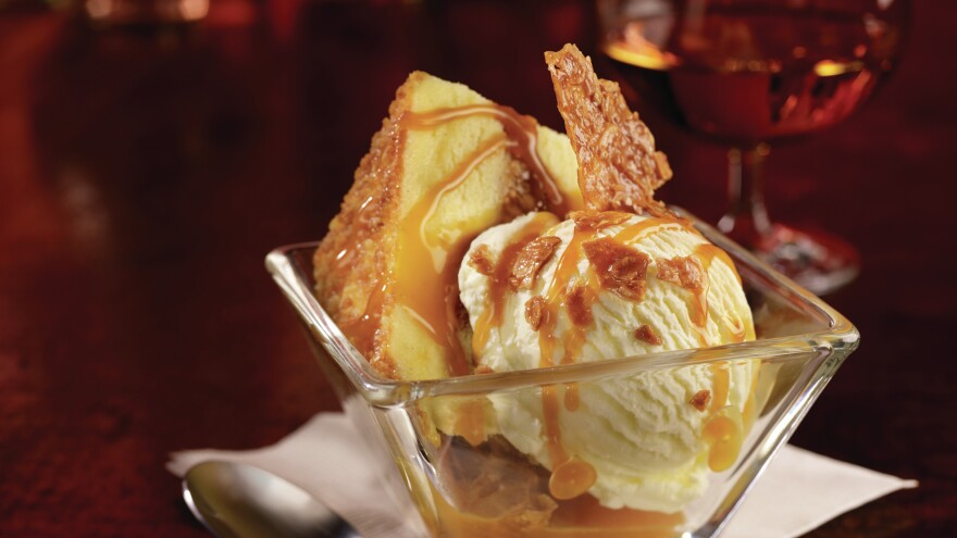 Salted caramel has arrived. Here it is at TGI Friday's, on cake, topped with a Ghirardelli salted caramel sauce.