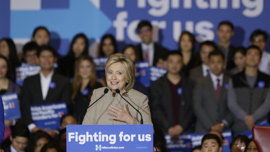 Democratic presidential candidate Hillary Clinton addresses Asian-American and Pacific Islander supporters in San Gabriel, Calif., in January.