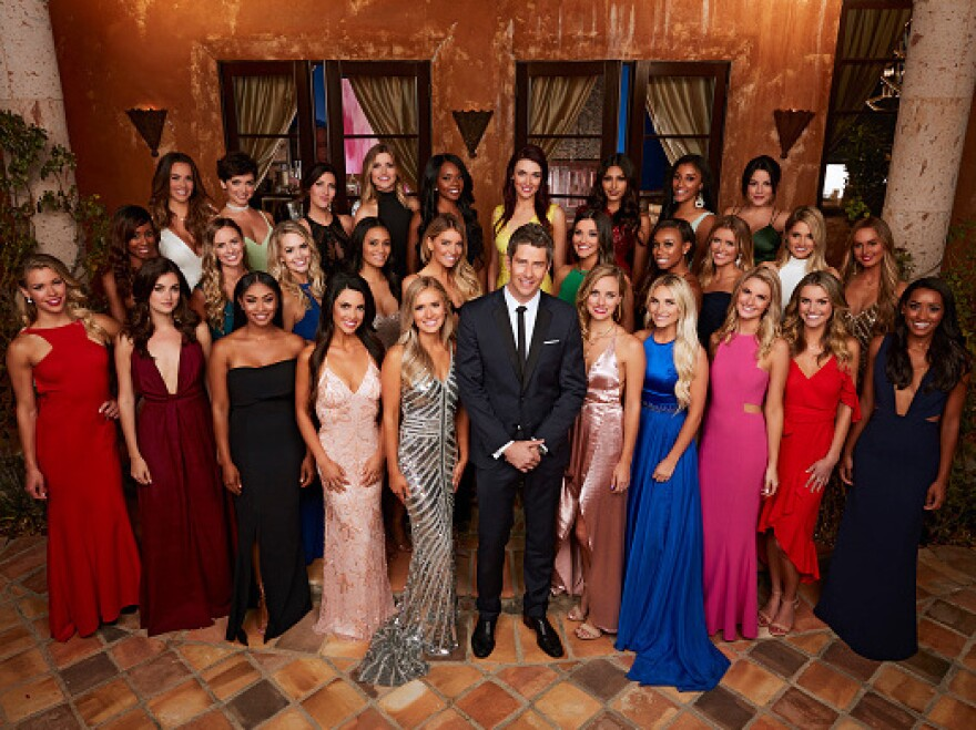 "In this picture of the cast of the 22nd season of ABC's hit romance reality series ""The Bachelor,"" Rebekah Martinez, known as ""Bekah M"" on the show, is second from left in the back row."