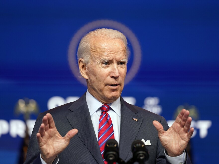 President-elect Joe Biden speaks Friday about jobs at the Queen theater in Wilmington, Del.