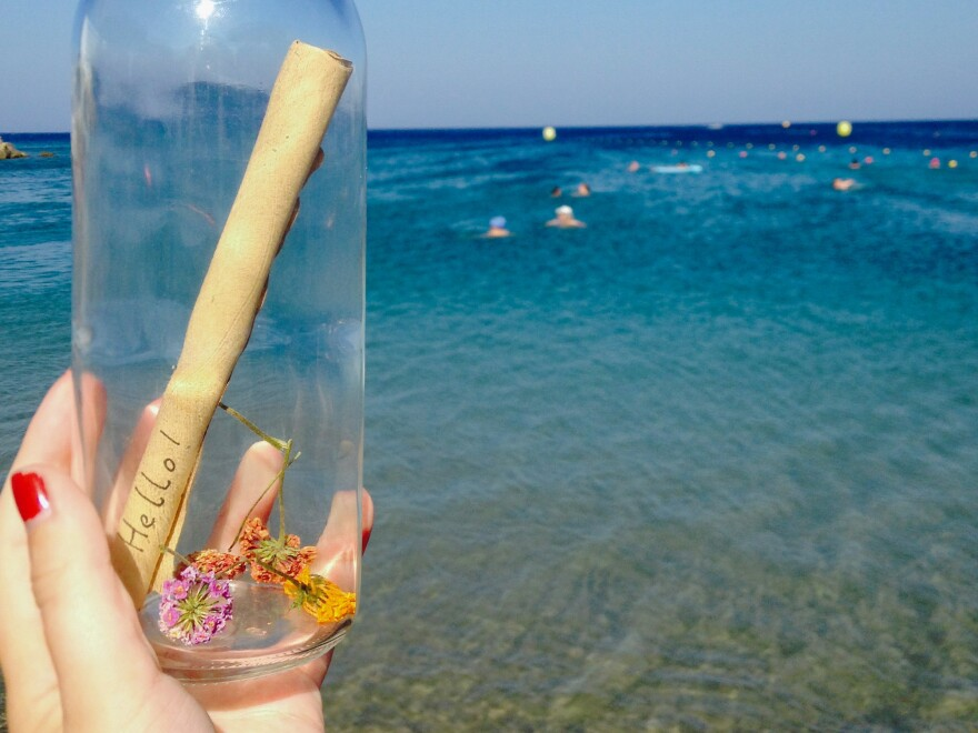 A photo of the bottle before Zac Marriner and Bethany Wright cast it from the Greek island of Rhodes into the Mediterranean Sea.