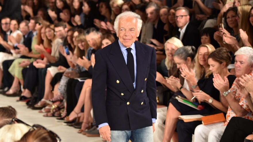 Designer Ralph Lauren poses on the runway during New York Fashion Week on Sept. 17.