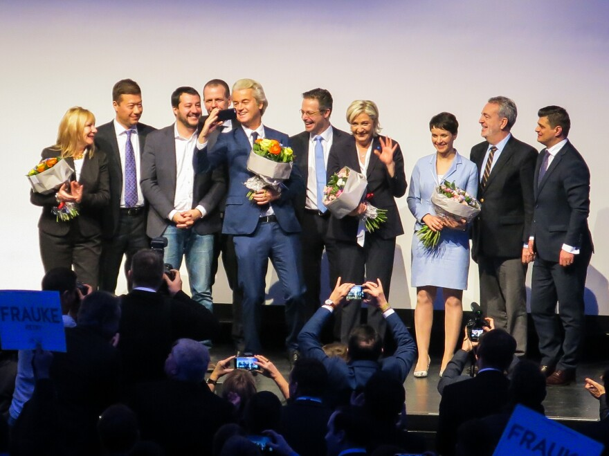 European political party leaders greet supporters at a conference of European right-wing parties on January 21 in Koblenz, Germany.