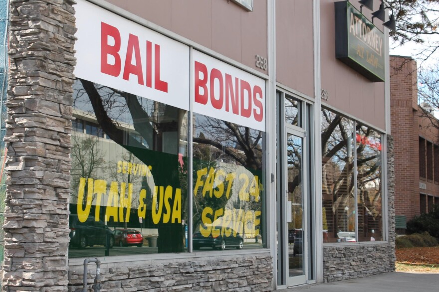 Photo of a building with the 'Bail Bonds' painted on the windows