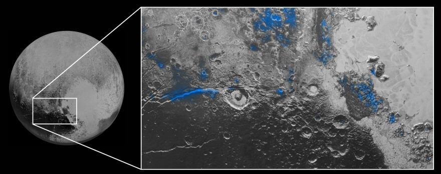 Parts of Pluto's surface that have exposed water ice are highlighted in blue, in a composite image from NASA. The space agency says the water ice appears on parts of the surface that are red.