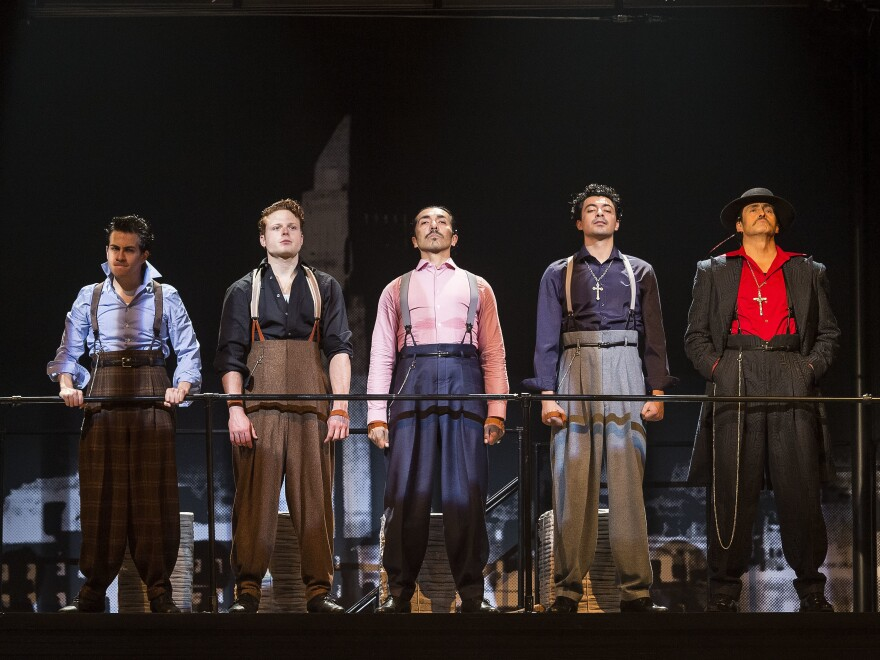 """In the revival of Luis Valdez's """"Zoot Suit,"""" young pachucos go on trial for a murder they did not commit. In this scene, the judge requires the men to go on trial in the clothes they were wearing when they were arrested."""