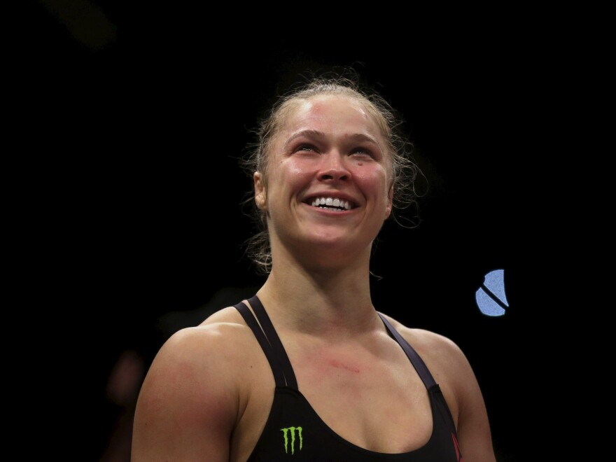 Ronda Rousey celebrates her most recent Ultimate Fighting Championship win on Aug. 1, shortly after knocking out Bethe Correia in just over half a minute.