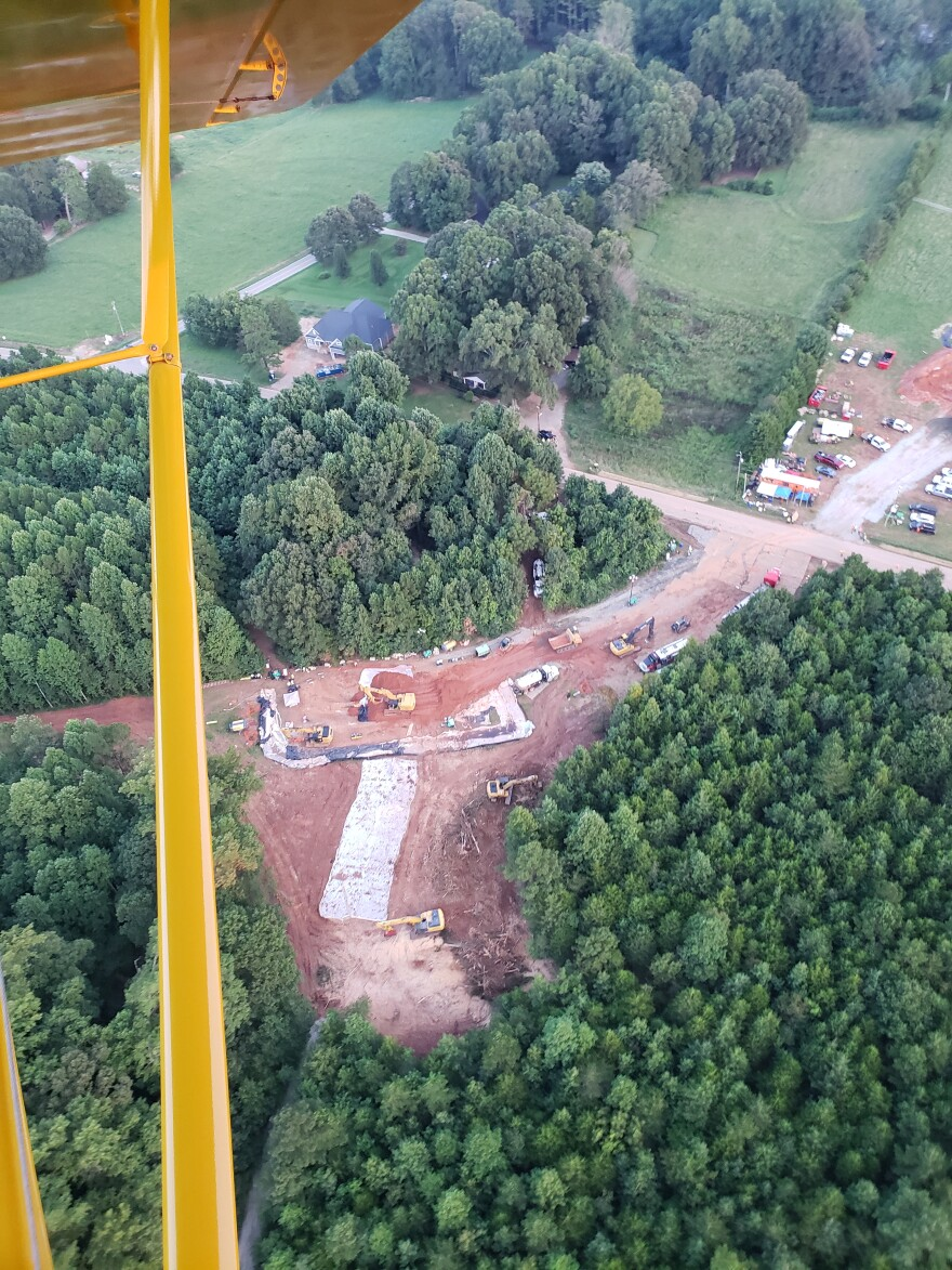 Aerial photo of the Colonial Pipeline work site on Huntersville-Concord Road.