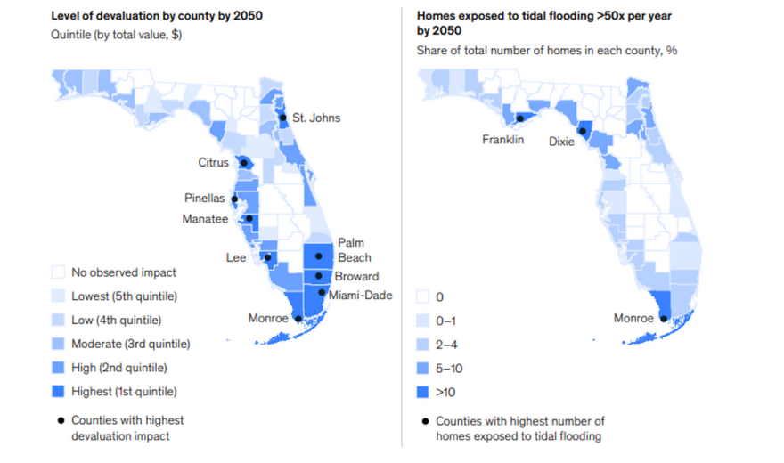 Chart shows where Florida's real estate market could lose the most value to climate-change-driven flooding.