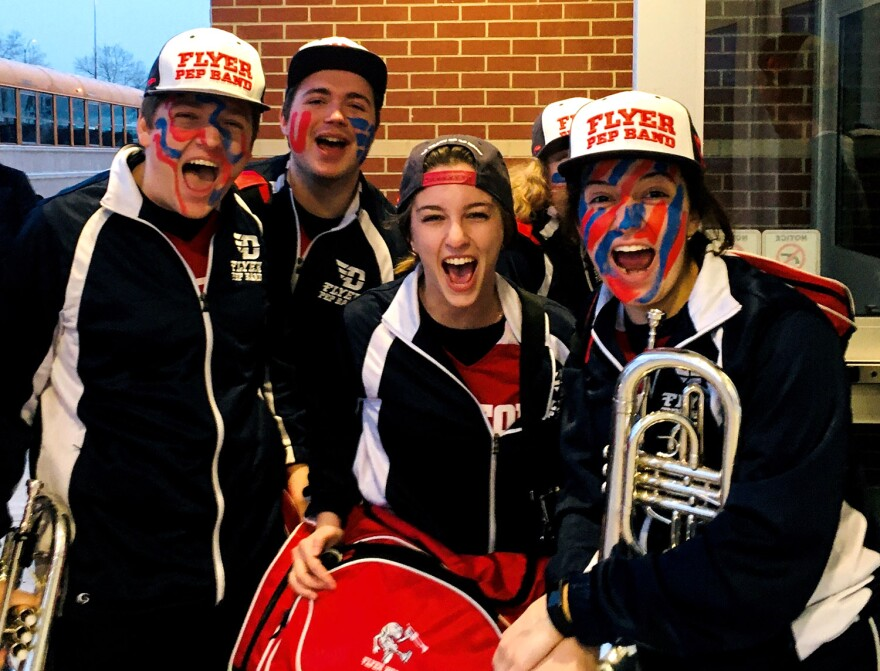 The Flyer Pep Band outside of Friday's basketball game. The Flyers' victory brings their win streak to 18 straight games and puts them in position to earn a top seed in the NCAA Men's Division I Basketball Tournament.