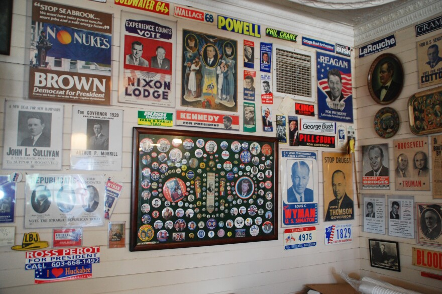 Political memorabilia at Robie's Country Store in Hooksett, N.H. The store is now closed but reopens when candidates visit.