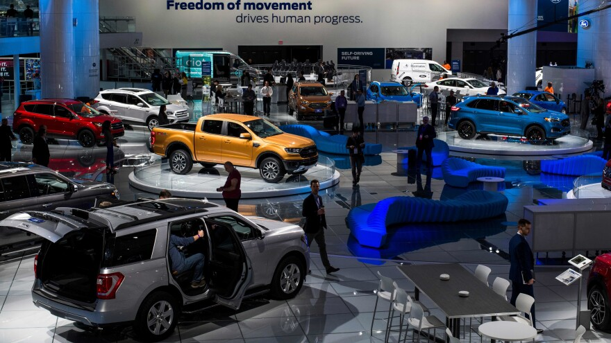 Ford will focus on SUVs and trucks — and eliminate many of its sedans — in the North American market. Here, the company's trucks were highlighted at the 2018 North American International Auto Show in Detroit.