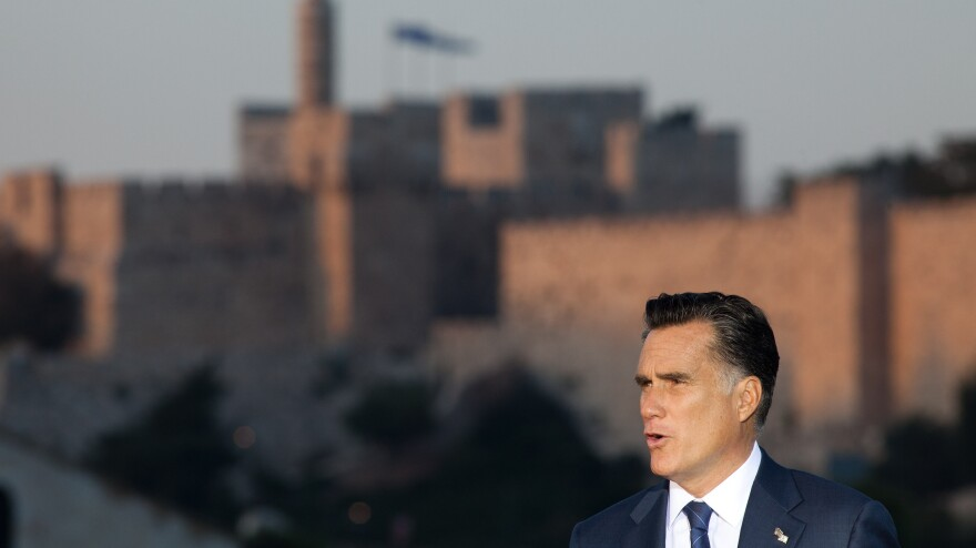 """Mitt Romney speaks in Jerusalem on Sunday, backing  """"any and all measures"""" to keep Iran from developing nuclear weapons."""