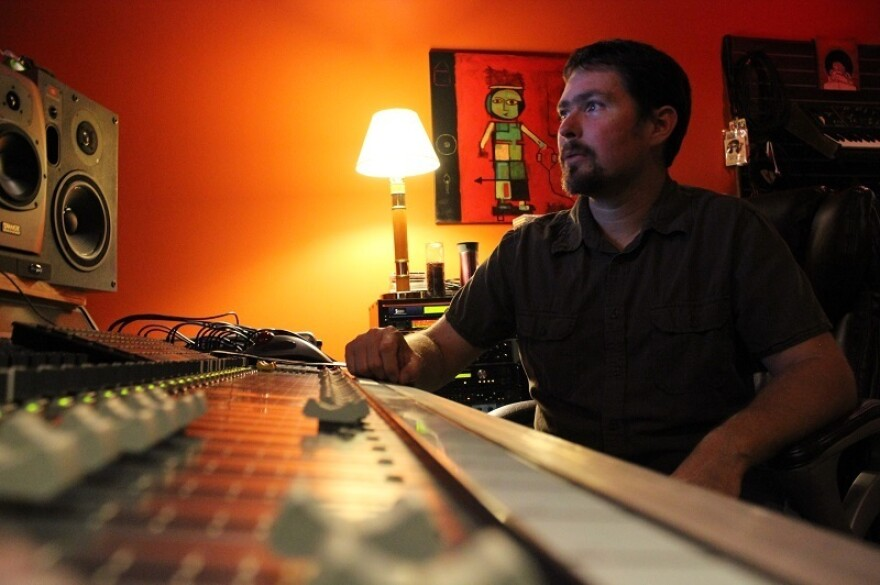 Engineer Joel Mullis in the studio.