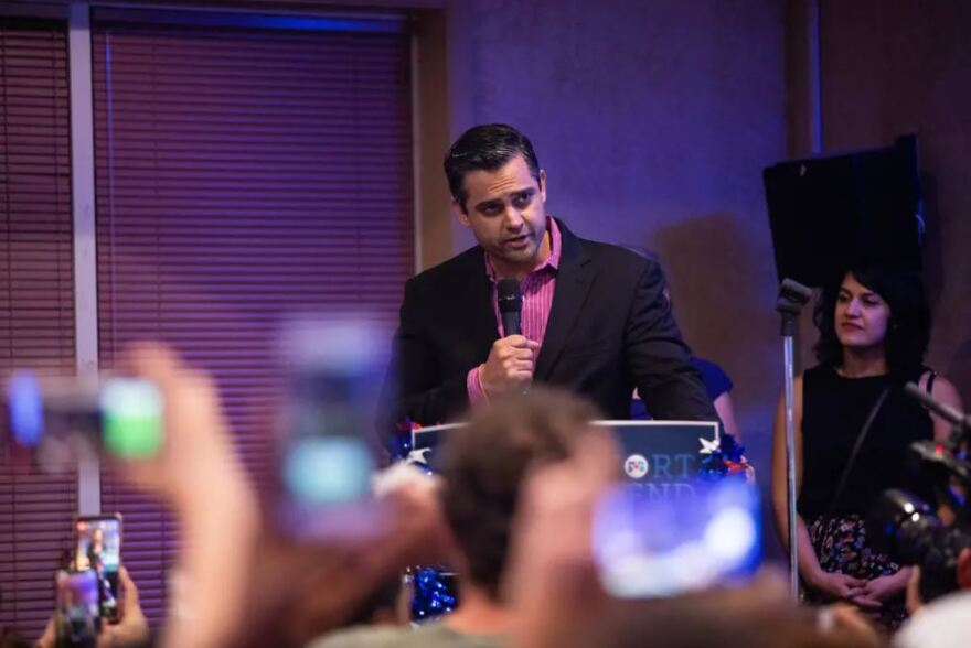 Sri Preston Kulkarni speaks to his supporters in Sugar Land after losing to Pete Olson in a race for Texas' 22nd Congressional District.