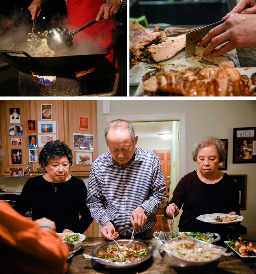 """(Top left) Gilroy Chow makes fried rice in the family's wok in the driveway of their home in Clarksdale, Miss. (Top right) All the meat served was cut up """"bite sized"""" so that guests wouldn't need a knife at the table, explains Gilroy. (Bottom) From left: Sally Chow, Gilroy and Alice Chow serve dinner."""