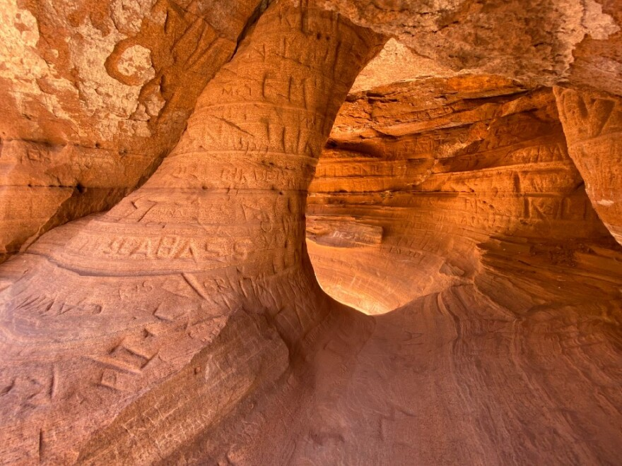 A photo of graffiti at Zion National Park.