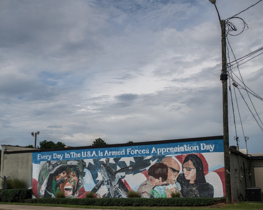 "Students from Warner Robins High painted this mural celebrating the armed forces in 2010, updating the town's slogan, ""Every Day In Middle Georgia Is U.S. Armed Forces Appreciation Day."""
