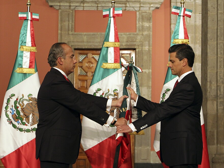 Pena Nieto (right) inherits a country with a mixed record. Most of Mexico is embroiled in a deadly drug war, but also boasts an economy that is doing surprisingly well.