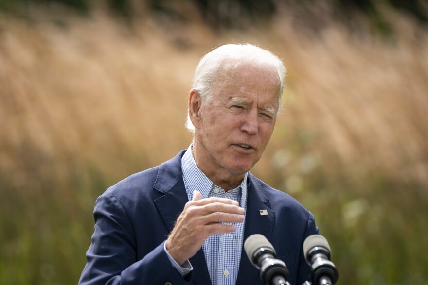 Joe Biden speaks about climate change and the wildfires on the West Coast. (Drew Angerer/Getty Images)