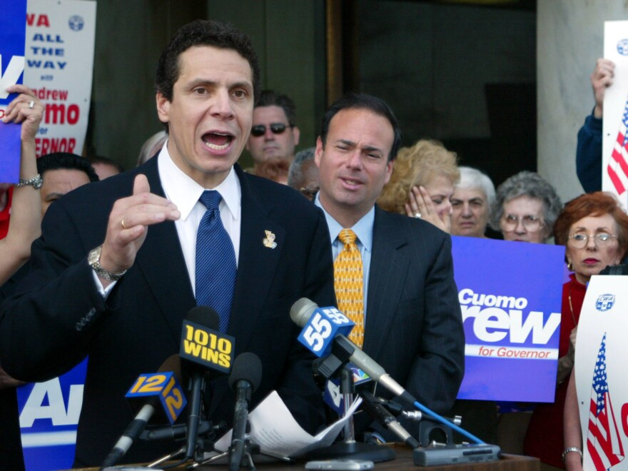 Andrew Cuomo announces his candidacy for governor of New York state on April 16, 2002, outside the Supreme Court Building in Mineloa, N.Y. He lost after making disparaging remarks about the governor at the time.