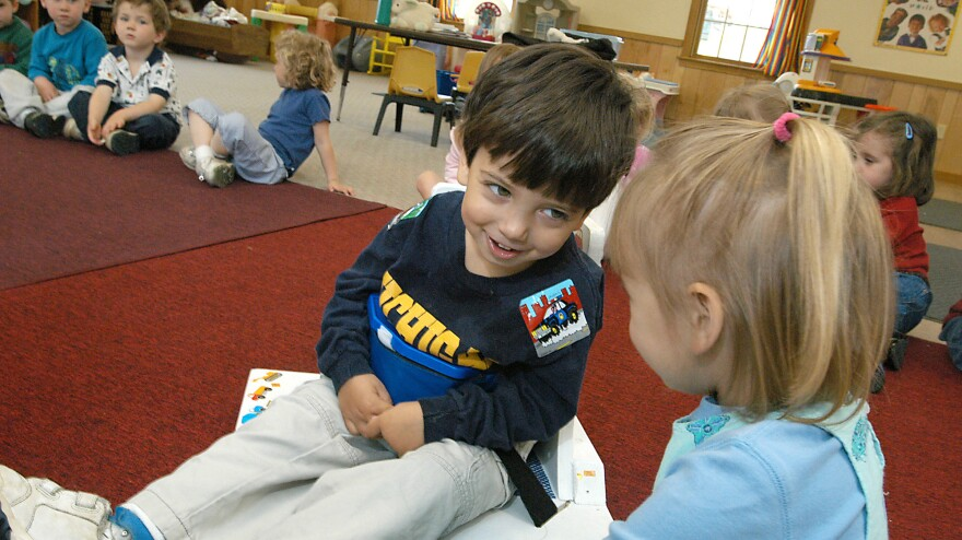 """Samuel Habib, seen here at 3 years old, sits in his supportive corner chair in class. Samuel, who has cerebral palsy, is now 14 and is headed to high school. Dan Habib, Samuel's father, is an advocate for inclusion and <a href=""""http://www.includingsamuel.com/home.aspx"""">made a film about his son</a> called <em>Including Samuel</em>."""