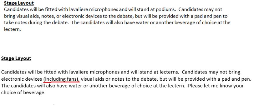 The original July 22 debate rules did not mention fans. The Oct. 6 version prohibited fans.