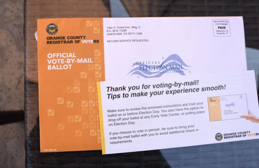 A mail-in ballot for the midterm elections is displayed in upscale Laguna Niguel in southern California's Orange County.