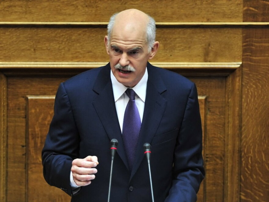 Greek Prime Minister  George  Papandreou addresses Parliament at the opening of debate on a vote of confidence Saturday.