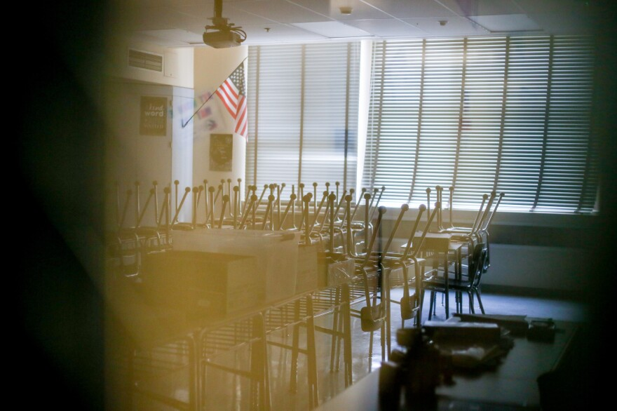 Classrooms at Vista Middle School sit empty during the 2019 Los Angeles teacher strike. Los Angeles schools emptied out again in the spring because of the coronavirus.