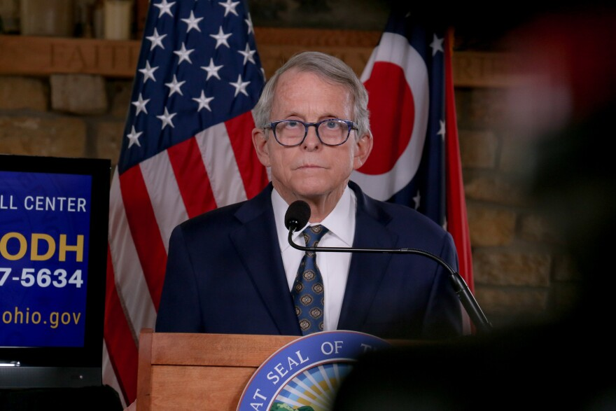 Gov. Mike DeWine, at a press conference in his home in January 2021.