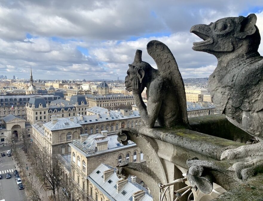 I was there only two months ago at Sunday mass and later went up to the bell tower where I saw the gargoyles that sat guarding the cathedral as well as the spire that collapsed today. Part of my heart will forever be with #NotreDame.