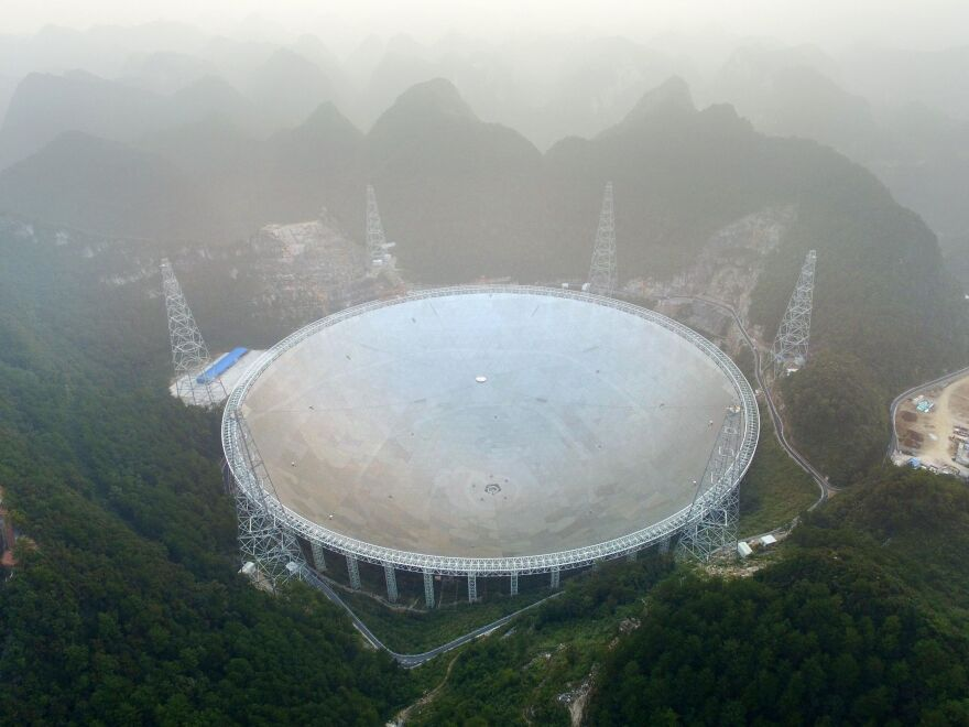 The Five-hundred-metre Aperture Spherical Telescope (FAST) in Pingtang county, China.