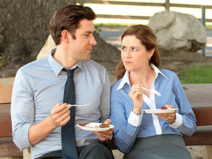 John Krasinski and Jenna Fischer as Jim and Pam Halpert.