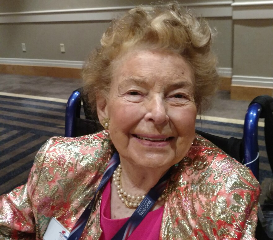 """Longtime Republican stalwart Phyllis Schlafly said Donald Trump is """"a choice not an echo,"""" which references her long-ago support of Barry Goldwater."""