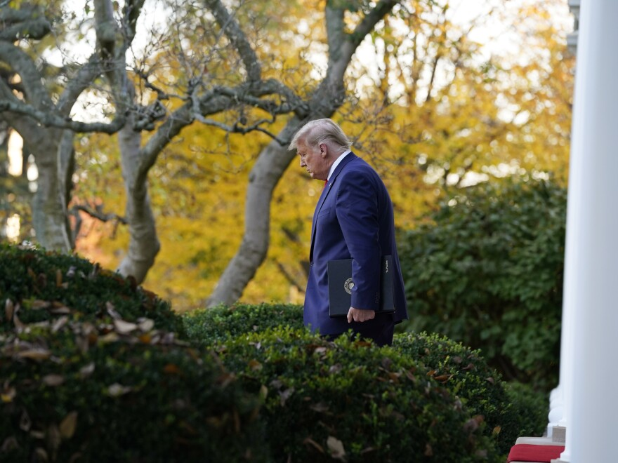 President Trump arrives to speak last week in the White House Rose Garden. He has benefited from the de facto immunity from prosecution that all presidents enjoy while in office.