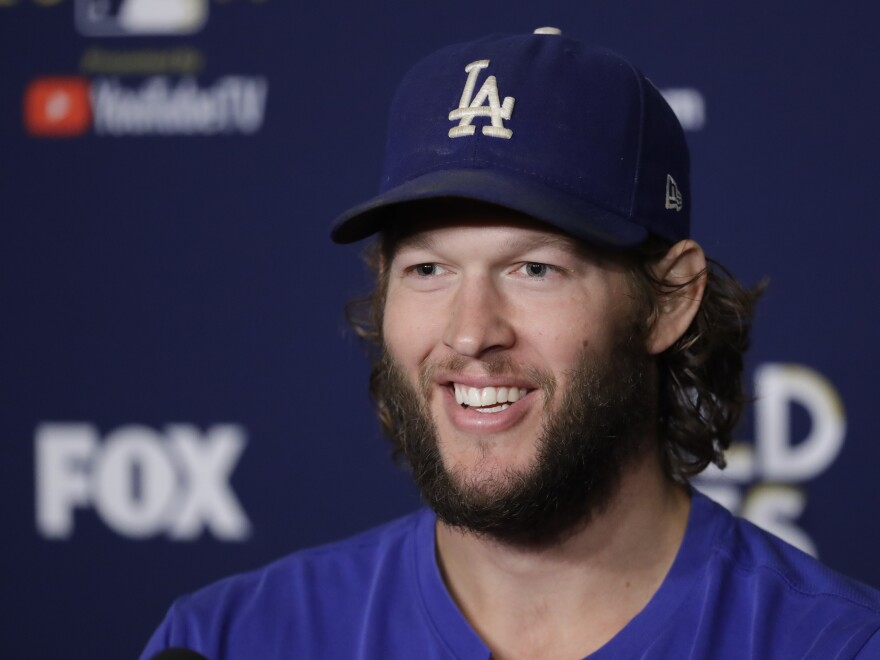 Los Angeles Dodgers starting pitcher Clayton Kershaw talks to reporters about the team's World Series faceoff with the Houston Astros in Los Angeles.