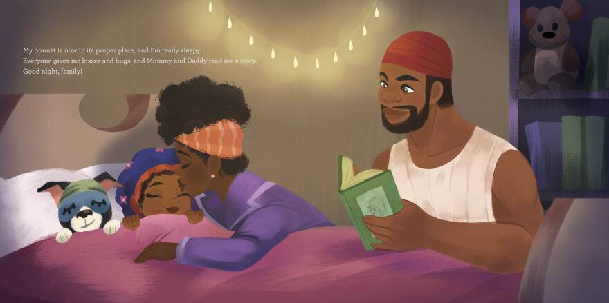 An illustration from Bedtime Bonnet shows a mother and father tucking their daughter in for bed.
