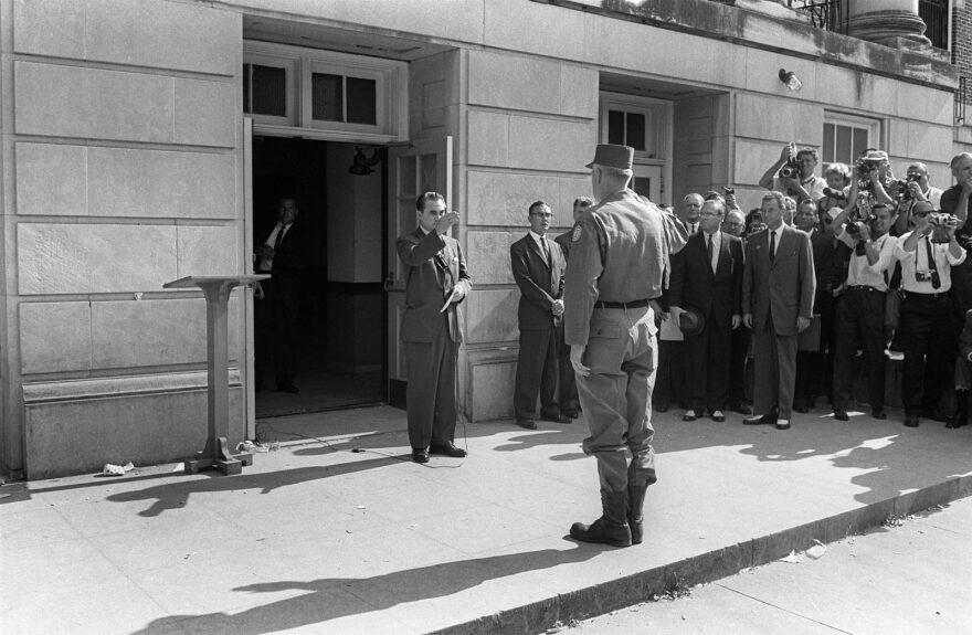 Alabama's Governor George Wallace faces General Henry Graham in Tuscaloosa on June 12, 1963, at the University of Alabama. Wallace blocked the enrollment of two black students, Vivian Malone and James Hood. Despite an order of the federal court, Governor George Wallace appointed himself the temporary University registrar and stood in the doorway of the administration building to prevent the students from entering.