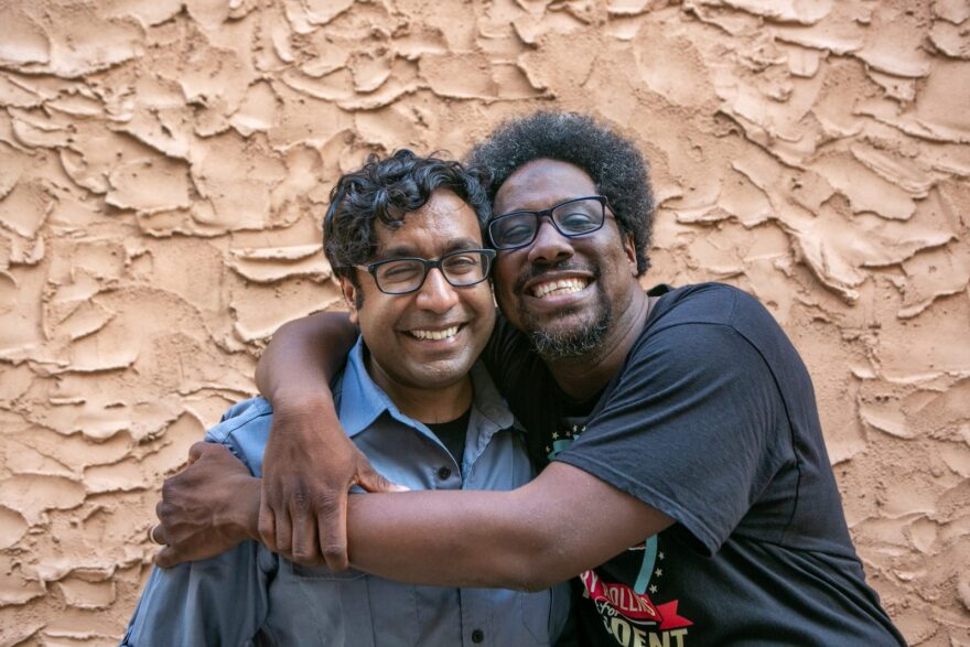 """Politically Re-Active"" hosts and comedians, Hari Kondabolu (L) and W. Kamau Bell (R)."