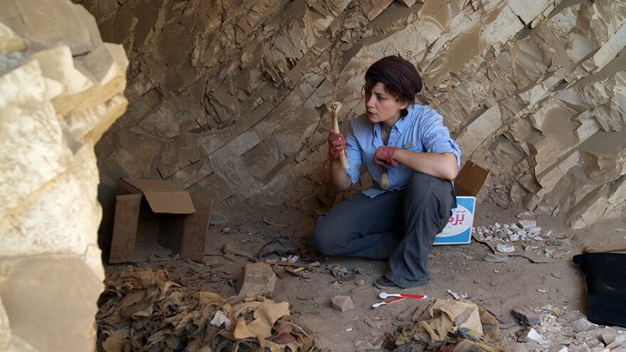 UMSL anthropology professor Anne Austin at a research site.
